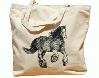 Clydesdales Horse Cotton Tote Bag - Canvas Tote - Horse Lover Gift - Bridesmaid Totes - Nautical Beach Destination Wedding Gift Bag