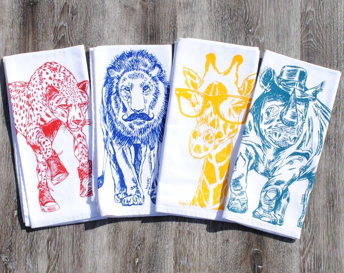 Cotton Napkins Set - Screen Printed African Dinner Napkins - Washable Reusable Kitchen Table Linens - Animal Napkins