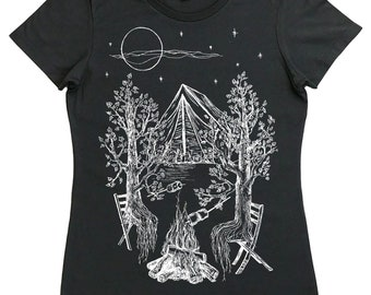 Womens Camping T Shirt - Regular Fit - Campfires Shirt - Funny Womens Tshirt - Adventure Tshirt - Trees Nature Inspired Outdoors Bonfire