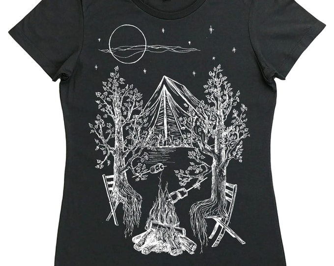 Womens Camping T Shirt - Regular Fit - Campfires Shirt - Funny Womens Tshirt - Adventure Tshirt - Trees Nature Inspired Outdoors Bonfire