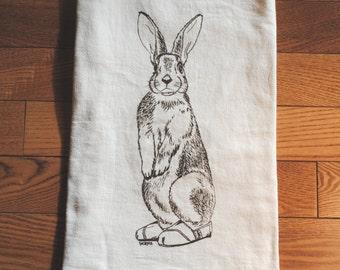 Flour Sack Tea Towel - Screen Printed Cotton Flour Sack Towel - Brown Rabbit Tea Towel - House Warming Gift - Wedding Gift - TOMS