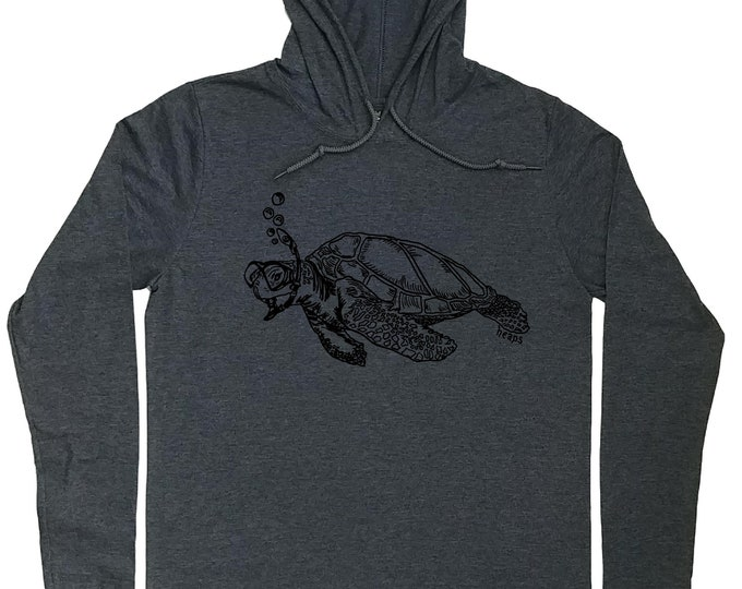 Hoodies for Men - Turtle Hoodie - Snorkeling Turtle - Sea Turtle Tee - Travel Tee - Travel Hoodie - Light Weight Hoodie Pullover Hoodie Men