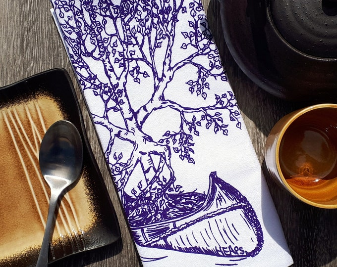 Cloth Napkins Set of 4 - Screen Printed Birch Tree Canoeing - Table Napkins - Washable Reusable Napkins - Table Linens Wedding Gift Idea -