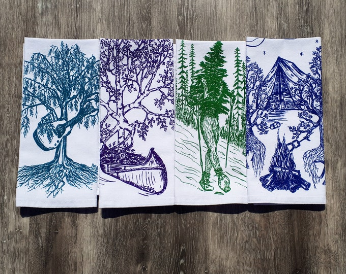 Eco Friendly Cloth Napkins Set of 4 - Screen Printed Forest Friends - Whimsical Napkin Set Makes a Perfect Shower Gift or Birthday Gift