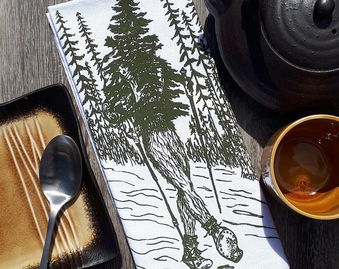 Cloth Kitchen Napkins - Eco Friendly - Screen Printed Cotton - Washable Reusable Napkins - Forest Theme - Funny Prints - Green Napkins