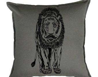 Pillow Covers 20 x 20 - Living Room Pillows - Animal Pillows - African Pillows - Lion Pilllows - Funny Home Decor - Couch Pillow Case - Grey