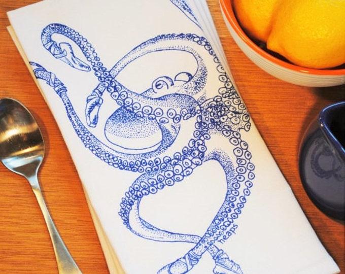 Nautical Table Napkins - Set of Four - Cotton Napkins - Screen Printed Blue Ballet Octopus