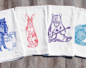 Flour Sack Tea Towels - Set of 4 - Screen Printed Cotton - Animal Tea Towels - Wedding Shower Christmas Holiday Gifts