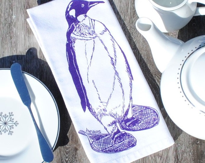 Penguin Table Napkins - Screen Printed Winter Napkins Set of 4 - Reusable Cotton Napkins - Winter Table Setting - Unique Christmas Gift