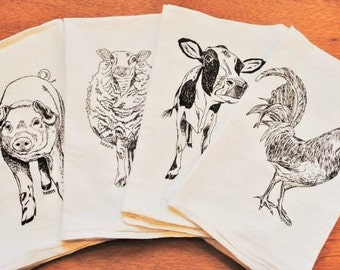 Tea Towels - Set of 4 - Screen Printed Cotton - Rooster Pig Sheep Cow Towels - Cute Bridal Shower Gift