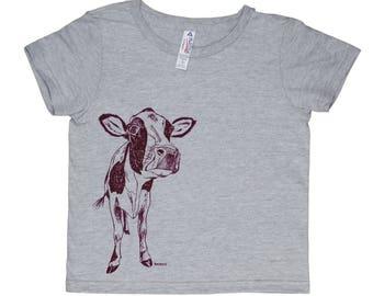 Funny Girl Tees - Boys TShirt - Girls Tee Shirt - Cow Tshirt - Toddler Tees - Funny Kids Shirts - Funny Boys Tshirts - Printed Animal Tee