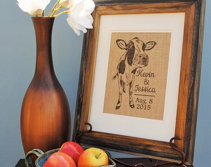 Cow Personalized Burlap Print - Wedding Gift Print - Couples Gift - Personalized Wall Art - Monogrammed Burlap Print - Wedding Shower Gift