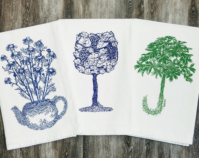Hand Tea Towels Set of 3 - Wine Towels - Plant Towels - Hand Towels Cup Towels Dish Towels Funny Towels - Wine Glass - Chamomile Tea Pot