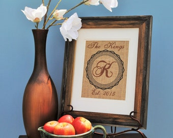 Personalized Birthday Gift - Housewarming Gift - Anniversary Gift - Wedding Gift - Monogrammed Gift - Wall Art Print - Prints on Burlap