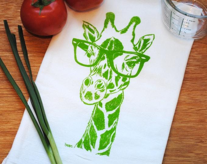 Green Giraffe Kitchen Hand Towel -  Screen Printed Cotton Flour Sack Towel - Eco Friendly Handmade - Cup Towel - Tea Towel - Wedding Gift