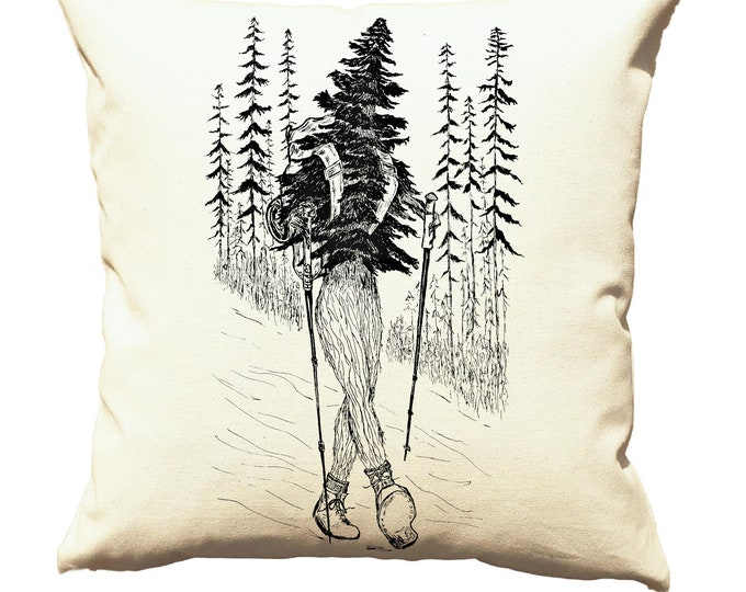 Throw Pillows 20x20 - Tree Pillows - Cabin Pillows - Cottage Pillows - Camp Pillows - Square Pillow Cover - Funny Decor - Hiking - Cream