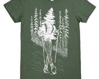 Womens TShirts - Hiking Womens Tees - Cool TShirts - Best Friend Gift - Womens Tee - Outdoors T Shirt - Green Tshirts - Gift for Women