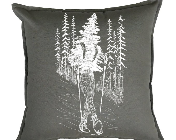 Throw Pillows 20x20 - Tree Pillows - Cabin Pillows - Cottage Pillows - Camp Pillows - Square Pillow Cover - Funny Decor - Hiking