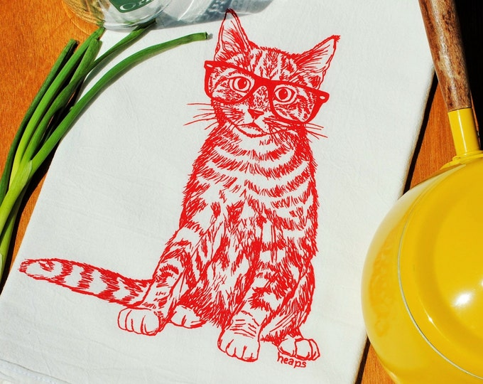 Cat Kitchen Towel - Screen Printed Red Cat Towel - Large Kitchen Towel for Dishes - Cat Kitchenware - Kitten Towel - Cotton Dish Cloth
