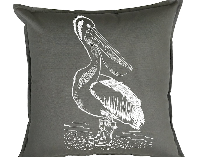 Throw Pillows 20x20 - Square Pillow Cover - Beach Pillows - Funny Home Decor - Funny Couch Pillows - Pelican Couch Pillow - Grey Nautical