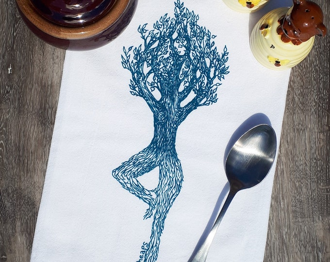 Cotton Kitchen Towel - Hand Screen Printed Teal Yoga Tree - Flour Sack - Towel is Perfect for Dishes - Modern Towels - Teal Towel