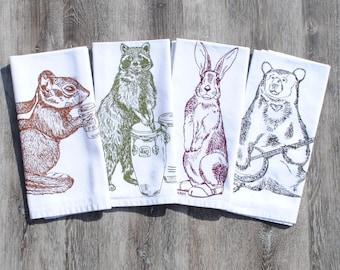 Cotton Napkins - Screen Printed Cotton - Woodland Animals - Kitchen Accessories- Printed Napkin Gift - Raccoon Rabbit Bear Chipmunk