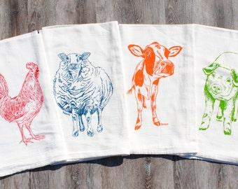 Tea Towels - Set of 4 - Screen Printed Cotton - Rooster Pig Sheep Cow Towels - Farm Animals Make Unique Wedding Gifts