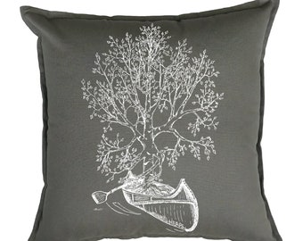 Throw Pillows 20x20 - Gift Newlyweds - Tree Pillows - Canoeing - Cabin Pillows - Cottage Pillows - Camp Pillows - Square Pillow Funny Decor