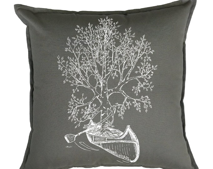 Throw Pillows 20x20 - Birch Tree Pillows - Canoeing - Cabin Pillows - Cottage Pillows - Camp Pillows - Square Pillow Cover - Funny Decor