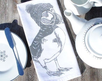 Gray Puffin Cloth Napkins Set of 4 - Screen Printed Winter Design - Reusable Napkins - Cotton Napkins - Unique Christmas Gift for Wife