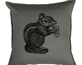Couch Pillow Covers 20 x 20 - Gift for Women - Animal Pillow - Coffee Pillows - Decorative Pillows - Cushion Cover - Shabby Chic  - Grey