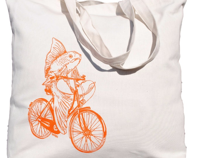 Canvas Beach Tote - Heavy Weight Screen Printed Cotton Bag - Washable - 10 Oz Canvas Tote Bag - Eco Friendly  - Fish on a Bike