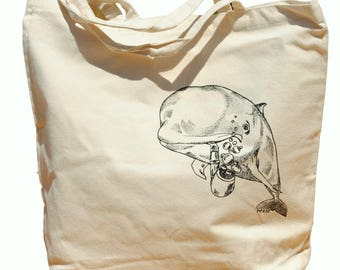 Whale Cotton Tote Bag - Bridesmaid Totes - Nautical Wedding Gift - Nautical Wedding - Beach Wedding - Canvas Tote - Beach Bag Tote