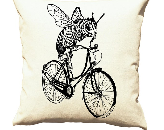 Cushion Throw Pillows 20x20 - Square Pillow Cover - Funny Home Decor - Funny Couch Pillows - Slip Covers - Couch Pillow - Bee Pillow Cream