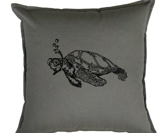 Couch Pillow Covers 20 x 20 - Nautical Pillow - Square Pillow - Accent Pillow - Screen Print Pillows - Pillowcases - Gray Sofa Pillow Turtle