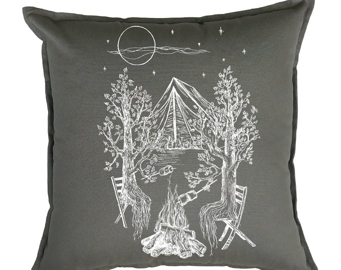 Couch Pillow Covers 20 x 20 - Cabin Pillow Covers - Cottage Pillows - Camping Pillows - Forest Pillows  - Grey Pillows - Chair Accent Pillow