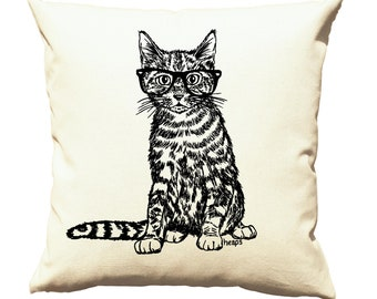 Cushion Cover - Couch Pillow Covers 20x20 - Gift for Cat Lover - Cat Pillow - Square Pillow - Accent Pillow - Printed Pillows - Cream