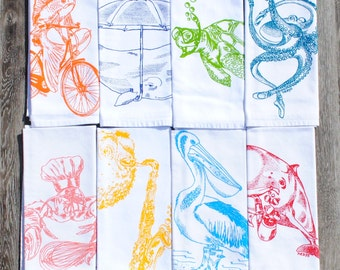 Cotton Napkins - Printed Cloth Napkins Set of 8 - Reusable Napkins - Nautical Napkins - Funny Napkins Set - Table Napkins Place Setting