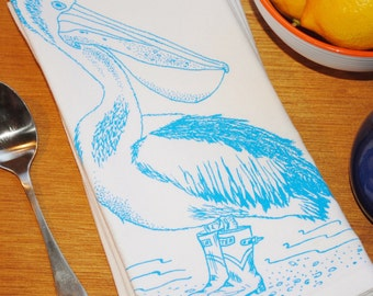 Eco Friendly Cloth Dinner Napkins - Screen Printed Cotton - Blue Pelican Dinner Party Napkin - Wedding Gift Ideas