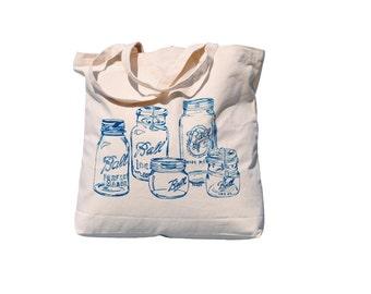 Mason Jar Canvas Tote Bag - Market Tote Bag - Grocery Shopper - Teal Handbag - Gift Idea for Mom - Screen Printed - Rustic - Country