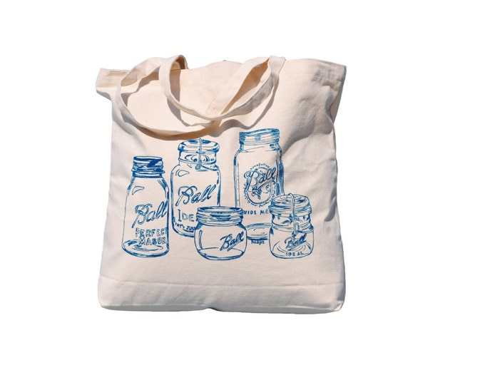 Mason Jar Canvas Tote Bag - Market Tote Bag - Grocery Shopper - Teal Handbag - Gift Idea for Mom - Screen Printed - Rustic - Country