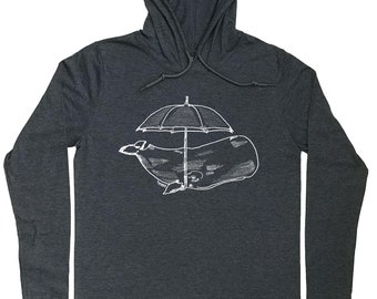 Hoodies for Men - Whale Hoodie - Umbrella Tee - Funny Nautical Tee - Nautical T Shirt - Funny Whale Tee - Hoodie for Men Hoodie T Shirt Men