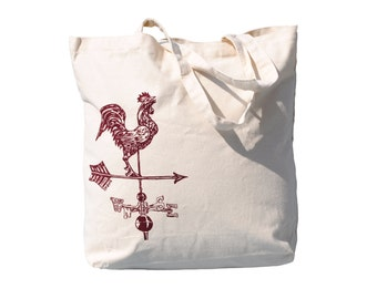 Rooster Weathervane Tote Bag - Large Canvas Tote Bag - Premium Canvas - Farm Tote - Market Tote Bag - Rustic - Country Tote Bag