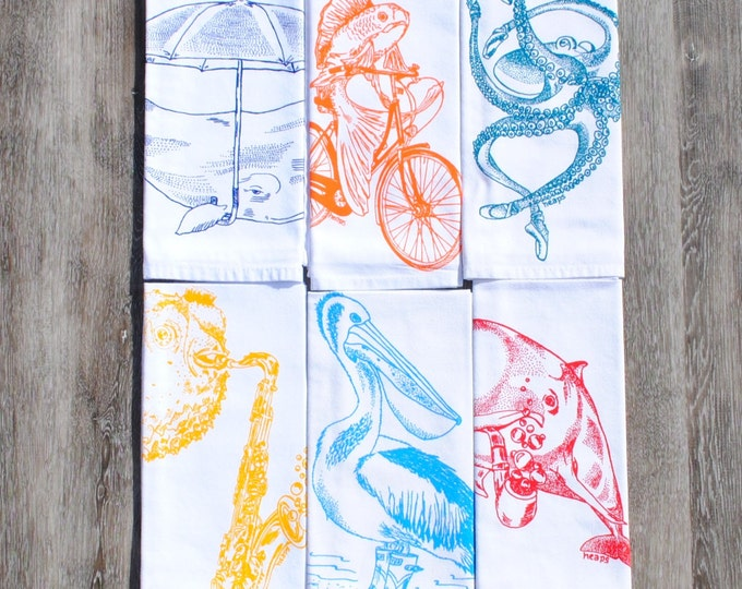 Cloth Napkins Set of Six - Screen Printed Images - Cotton - Nautical Theme - Dinner Place Setting - Washable Reusable Napkins - Eco Friendly