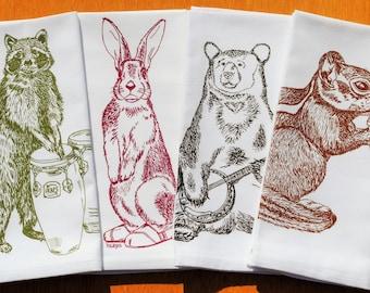 Cotton Napkins - Screen Printed Cotton Cloth Napkins - Woodland Animals Cloth Dinner Napkins- Washable and Reusable Eco Friendly