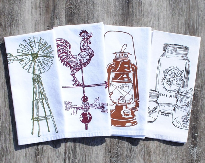 Rustic Cotton Napkins - Screen Printed Napkins Set of Four - Washable Reusable - Rooster Weathervane Windmill Mason Jars Oil Lantern