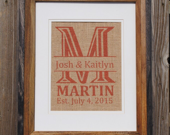 Mr and Mrs Wedding Sign - Red Last Initial - Wedding Present Personalized - Burlap Wall Hanging - Burlap Name Sign - Last Name Print