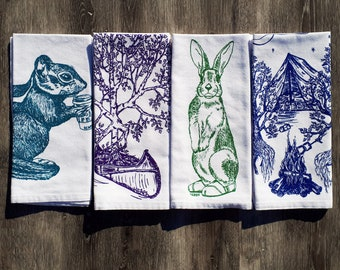 Cloth Napkins - Screen Printed Cotton Napkins - Kids Napkins - Trees Chipmunk Rabbit - Washable Reusable - Fabric Dinner Linens - Set of 4