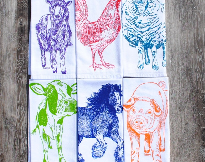 Cotton Dinner Napkins - Cloth Napkins Farm House Cow Horse Pig Rooster Goat Sheep Animals- Unique Shower Gifts- Hippie Colors