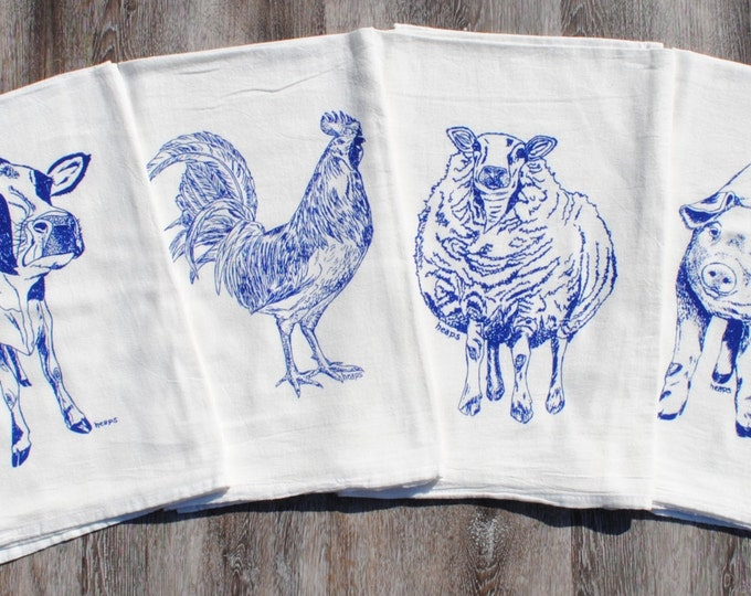 Blue Flour Sack Tea Towels - Set of 4 - Screen Printed Cotton - Rooster Pig Sheep Cow Tea Towels - Cute Bridal Shower Gift
